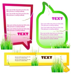 colorful grass speech stickers vector image vector image