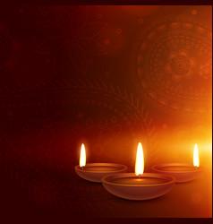 ethnic paisley background with three diya diwali vector image vector image