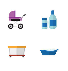 flat infant set of bathtub playground stroller vector image vector image