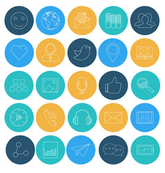 flat lines icons of social network vector image