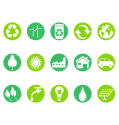 green eco button icons set vector image