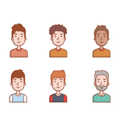 people young men portrait male avatar set vector image