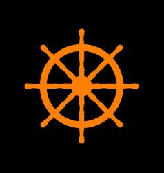 ship wheel sign orange icon on black background vector image