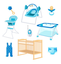 bedroom furniture for newborn boy on white vector image vector image