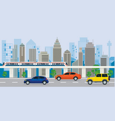 city building with cars on the road and skytrain vector image