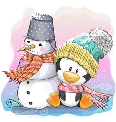 Cute penguin and snowman vector