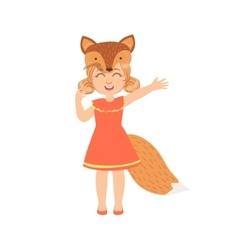 Girl Wearing Fox Animal Costume vector image