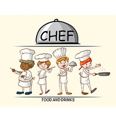 Many chefs cooking food vector image