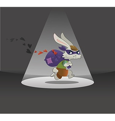 Valentines Day Card Rabbit Running Away with Bag F vector image vector image