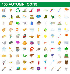 100 autumn icons set cartoon style vector image