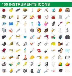 100 instruments icons set cartoon style vector image vector image
