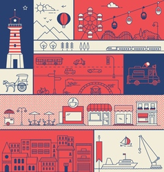 CITY IN LINE ART FLAT ICONS OUTLINE STYLE vector image vector image