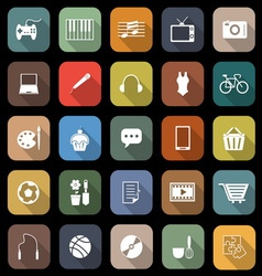 Hobby flat icons with long shadow vector