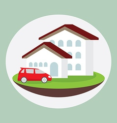 icon dream luxury house and car business concept vector image vector image