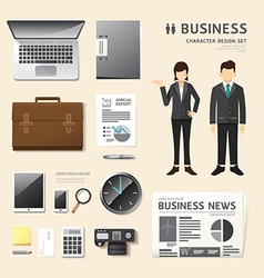 people set business job character icons flat style vector image vector image