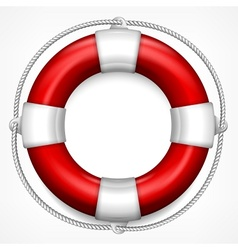 Red life buoy on white vector