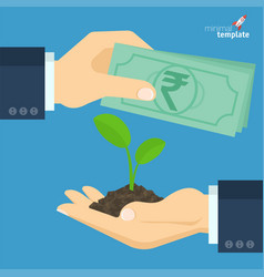 rupee for growing sprout vector image vector image