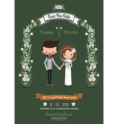 Rustic hipster cartoon couple wedding card vector image vector image