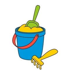 Sand Bucket and shovel vector image