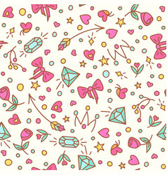 the roses and diamond seamless pattern vector image