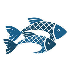 two fish silhouette vector image vector image