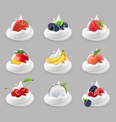 whipped cream with fruits and berries 3d icon set vector image vector image