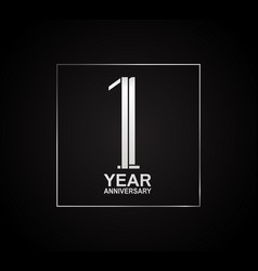 1 year anniversary logotype with cross hatch vector