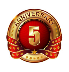 5 anniversary golden label with ribbon vector