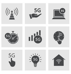 5g icon set isolated on white vector image