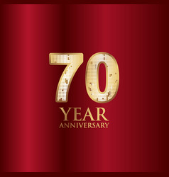 70 year anniversary gold with red background vector