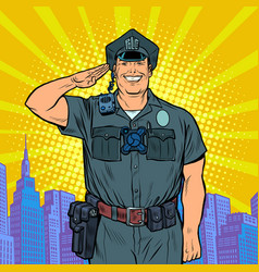a good cop salutes police work vector image