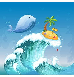 A high wave with a dolphin and an island with an vector image