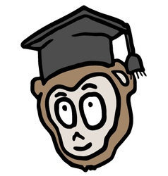 Academic monkey vector image