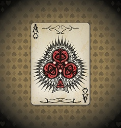 Ace clubs poker cards old look vintage vector