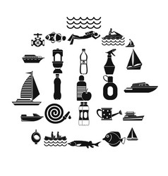 Backwash icons set simple style vector