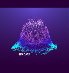 big data visualization wavy background 3d grid vector image