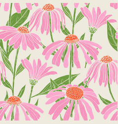 Botanical seamless pattern with gorgeous echinacea vector
