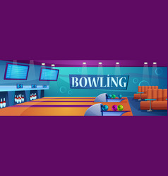 bowling alley cartoon flat vector image