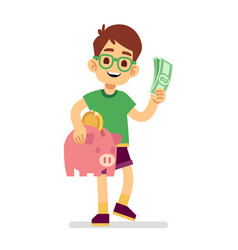boy saves money with piggy bank vector image