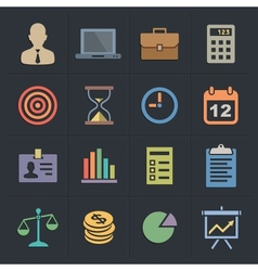 Business Flat Metro Style Icons vector image