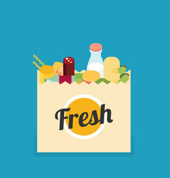 buy grocery in the supermarket flat design vector image