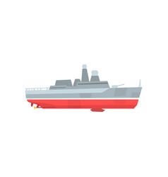 cartoon military tanker navy warship with radars vector image