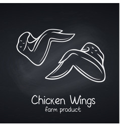 chicken wings chalkboard style vector image