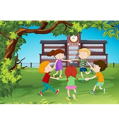 Children circle around in the park vector image