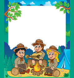 Children scouts thematic frame 1 vector