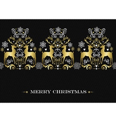 Christmas gold winter deer pattern background vector image
