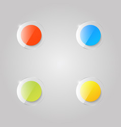 colored glass buttons on a gray background vector image