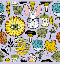 colorful endless pattern with rabbit in glasses vector image
