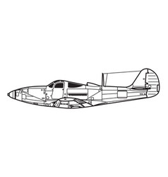 combat aircraft outline drawing vector image