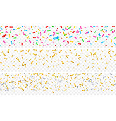 confetti banner gold silver colorful falling vector image